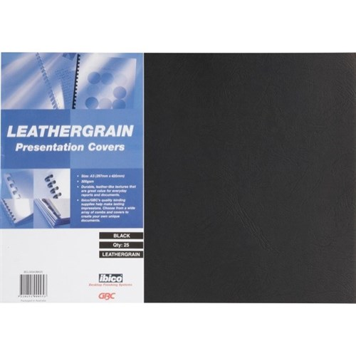 Gbc  Leathergrain Covers Black A3 Pack of 25