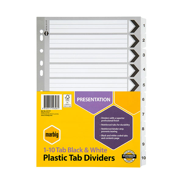 Marbig® Indices & Dividers 1-10 Tab Reinforced A4 Black