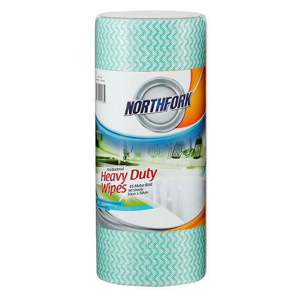 Northfork Heavy Duty Green Antibacterial Perforated Wipe 45m 90 Sheets