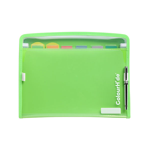 Colourhide® Zipit Expanding File Pp 7 Pocket Green 10 Pack