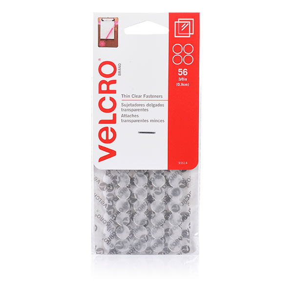 Velcro® Brand Stick On Thin Clear Hook & Loop Dots 56 Dots 9mm